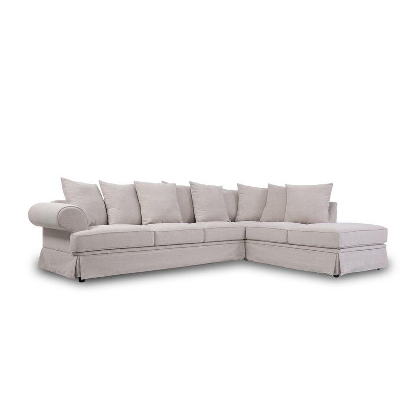 Perfume 5-Seater Fabric Upholstered Right Hand Corner Sofa, Beige