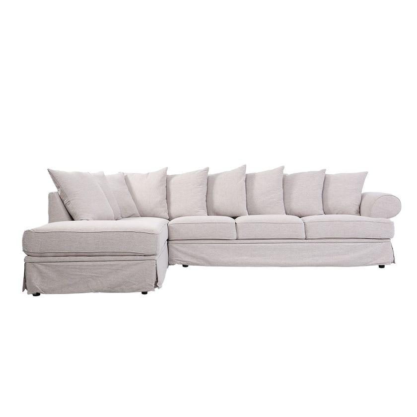 Perfume 5-Seater Fabric Upholstered Left Hand Corner Sofa, Beige