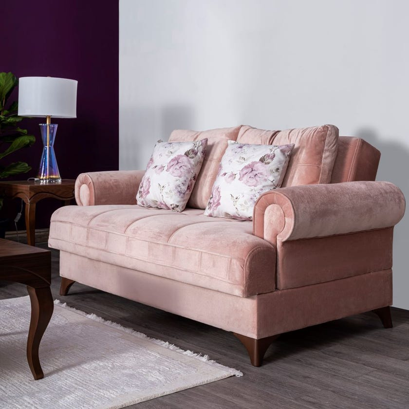 Melis 2-Seater Fabric Upholstered Sofa Bed, Pink