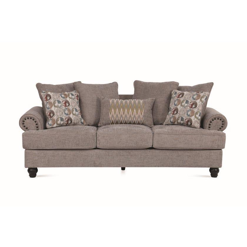 Charlston 3-Seater Fabric Upholstered Sofa, Grey