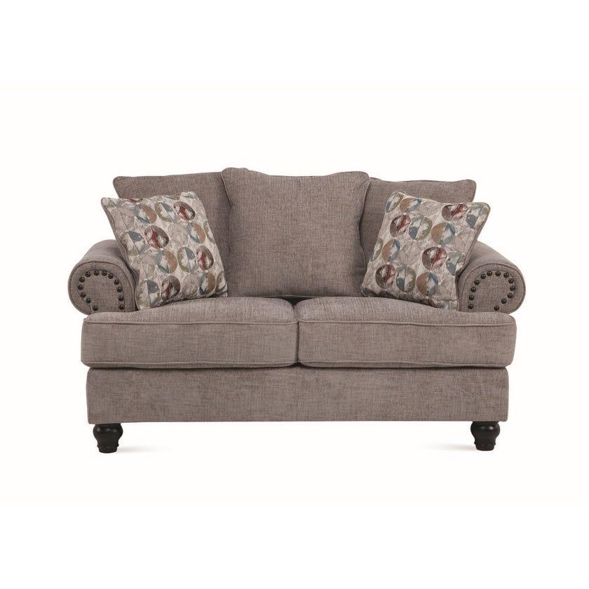 Charlston 2-Seater Fabric Upholstered Sofa, Grey