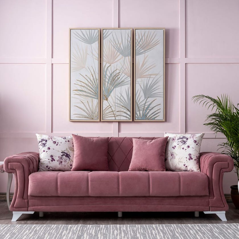 Lale 3-Seater Fabric Upholstered Sofa Bed, Pink