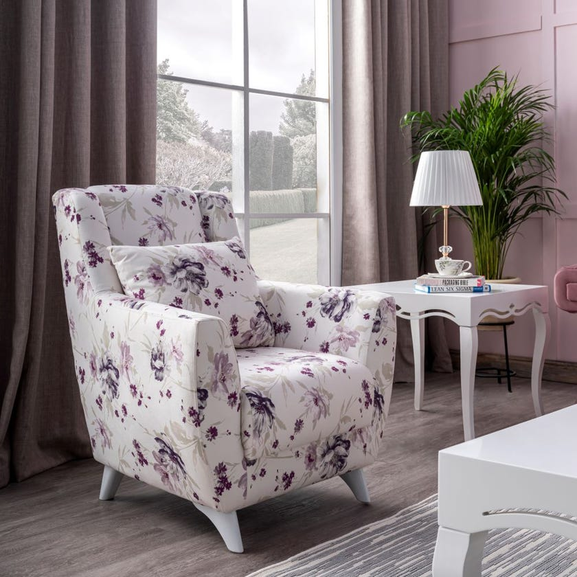 Lale Fabric Upholstered Armchair, White