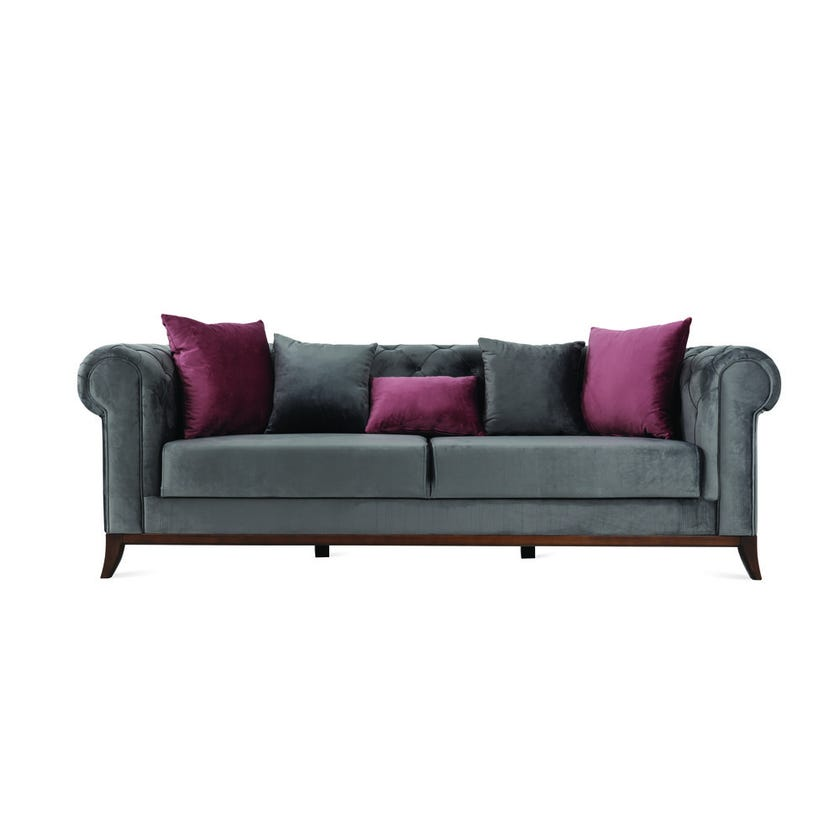 Lex 3-Seater Fabric Upholstered Sofa, Grey