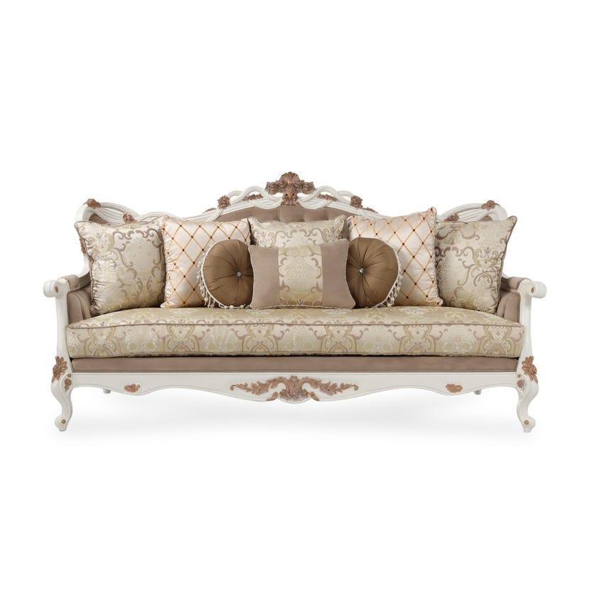 Laiya Microfibre Upholstered 3-seater Sofa - Cream