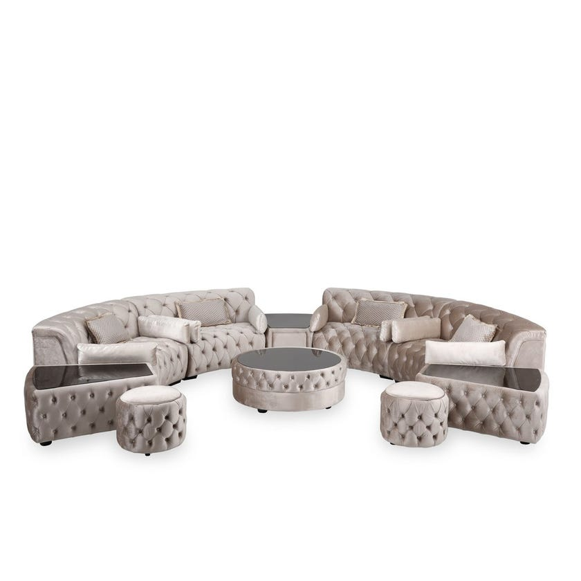 House Microsuede Upholstered 10-seater Corner Sofa Set with Ottoman - Cream