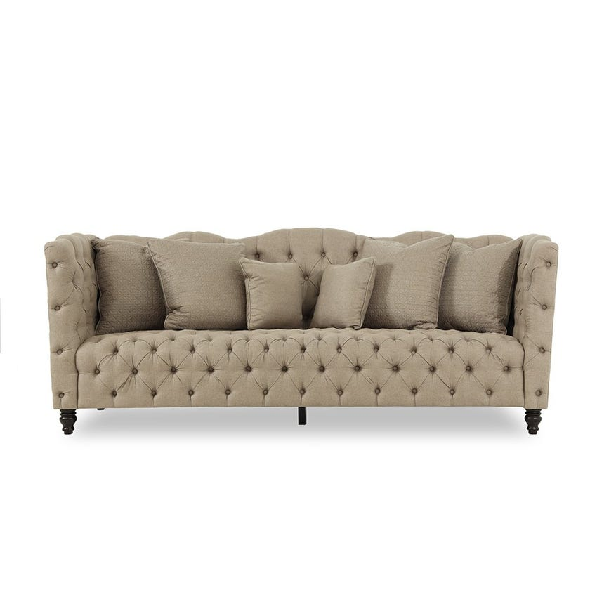 Turbo Fabric Upholstered 3-seater Sofa - Brown
