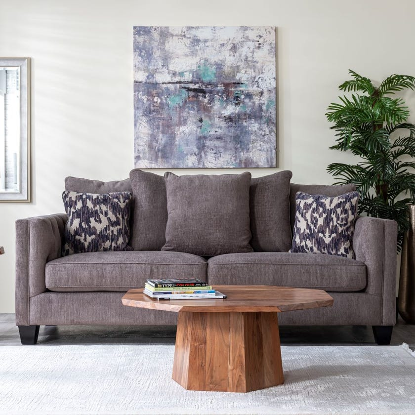 Code 3-Seater Fabric Upholstered Sofa, Grey