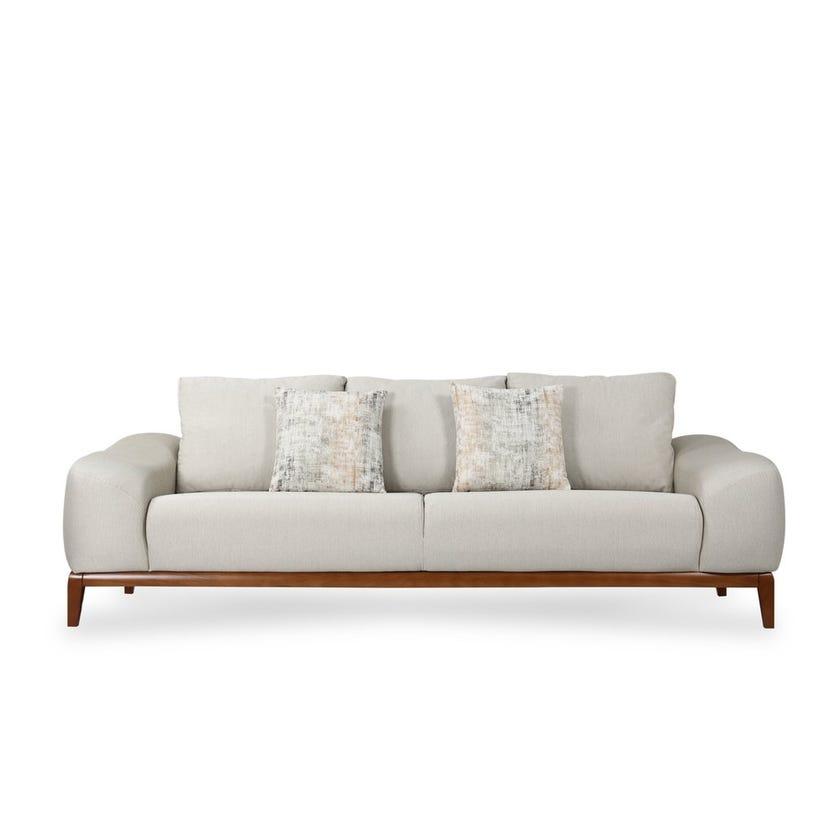Natali 3-Seater Fabric Upholstered Sofa, Beige