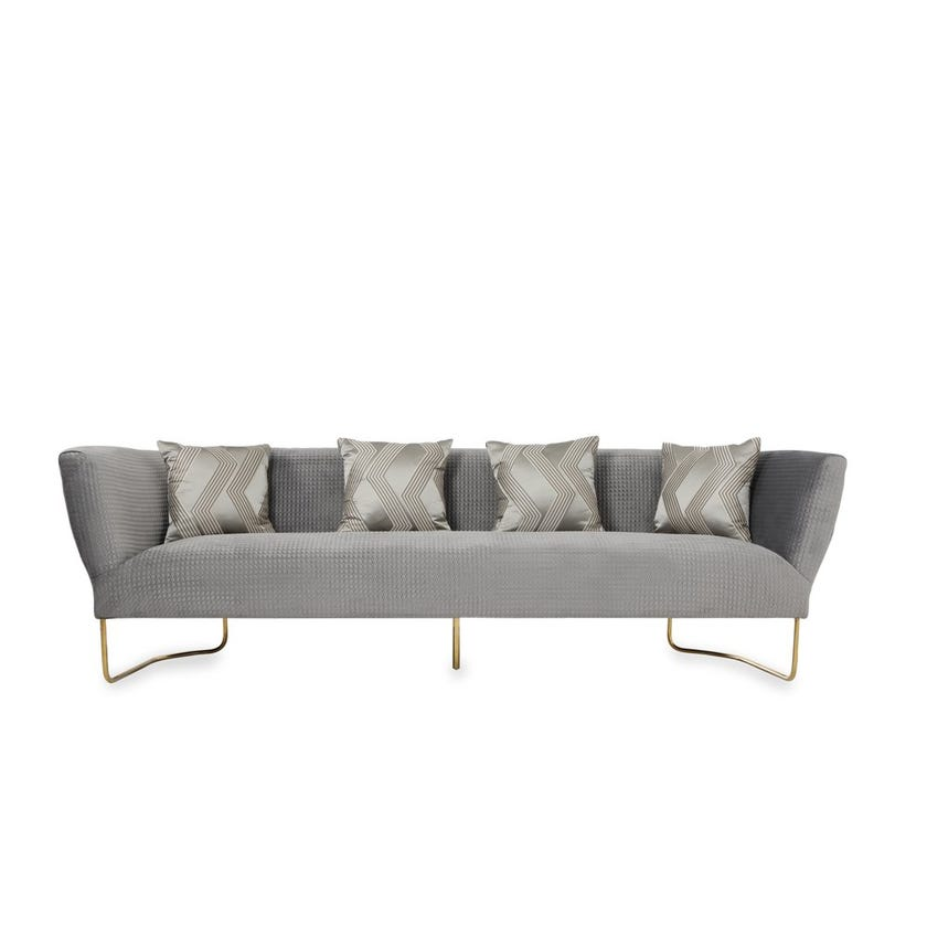 Florence 4-Seater Fabric Upholstered Sofa, Grey