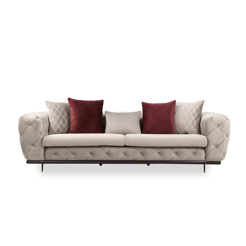 Capella Fabric Upholstered 3-seater Sofa - Beige