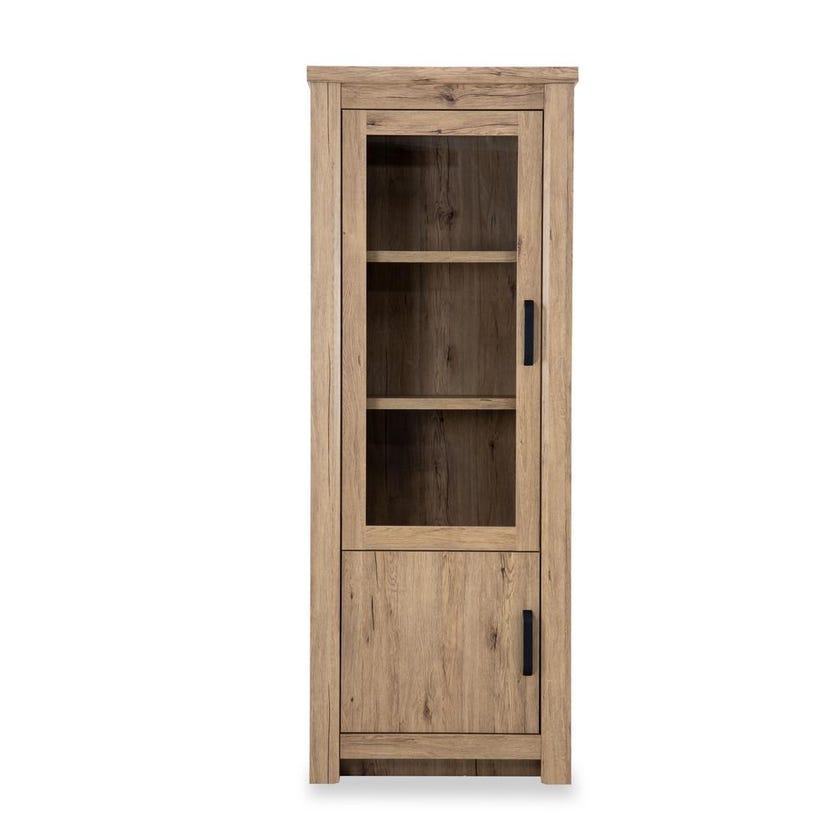 Braxton 1-Glass Door 1-Wooden Door Curio Cabinet, Summer Oak