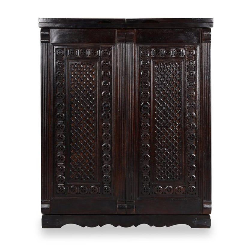Hebiki Wooden Bar Counter,Dark Walnut