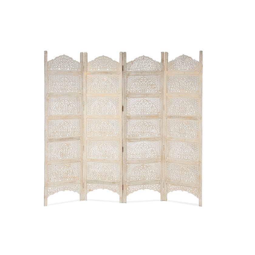 Wooden Carved 4-panel Screen - White / Gold