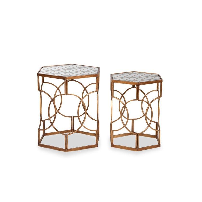 Munir Metal Nest of Tables - Set of 2 - Silver