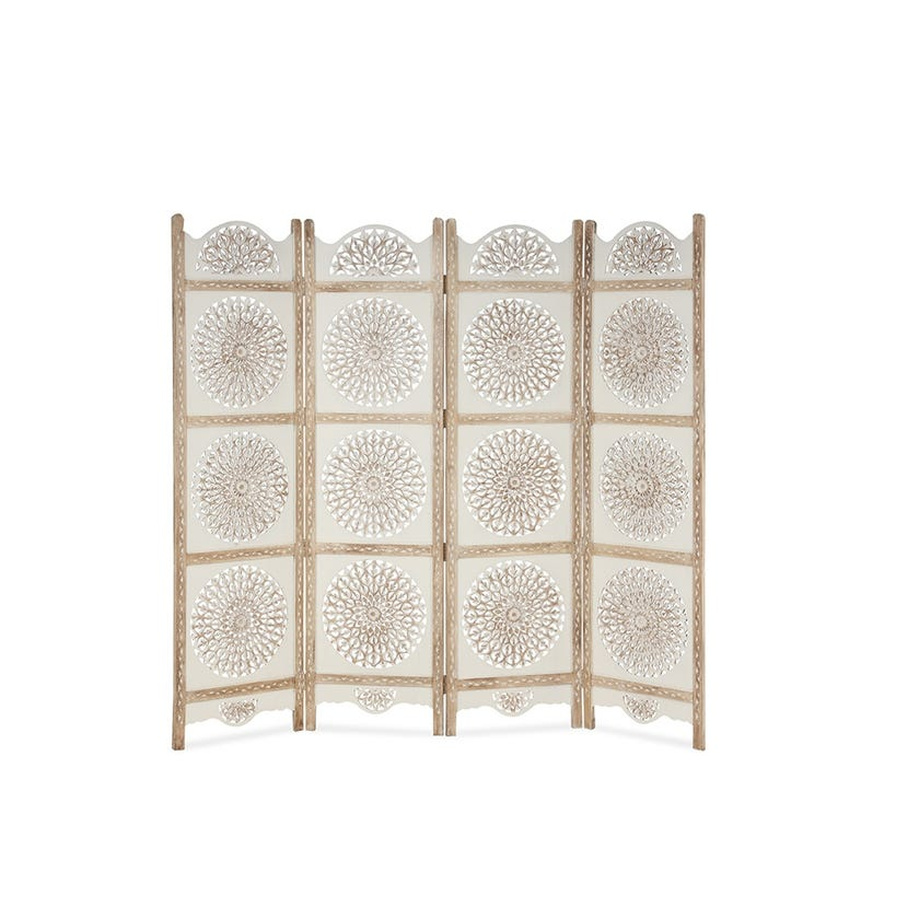 Wooden Carved 4-panel Screen - White