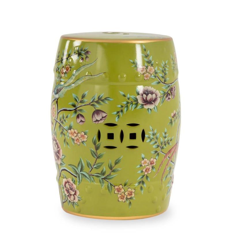 "Ceramic Stool - Green, 18"""