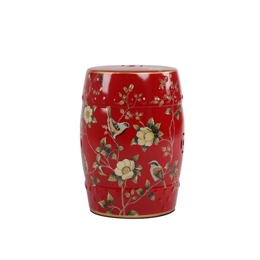 "Ceramic Stool - Red, 18"""