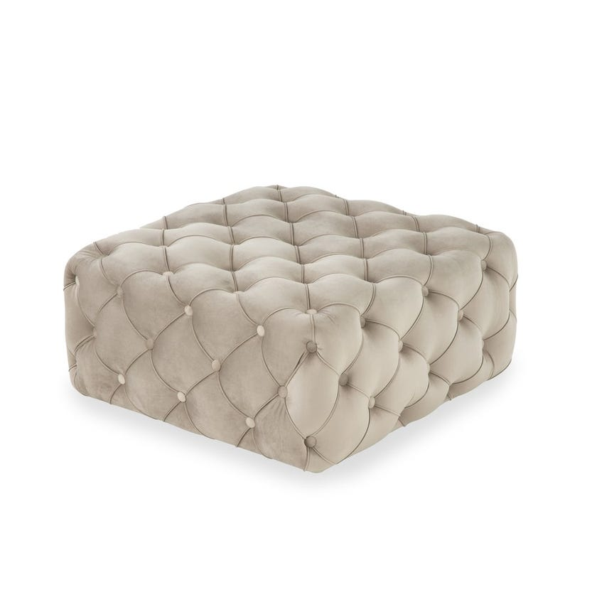 Capella Fabric Upholstered Ottoman - Beige