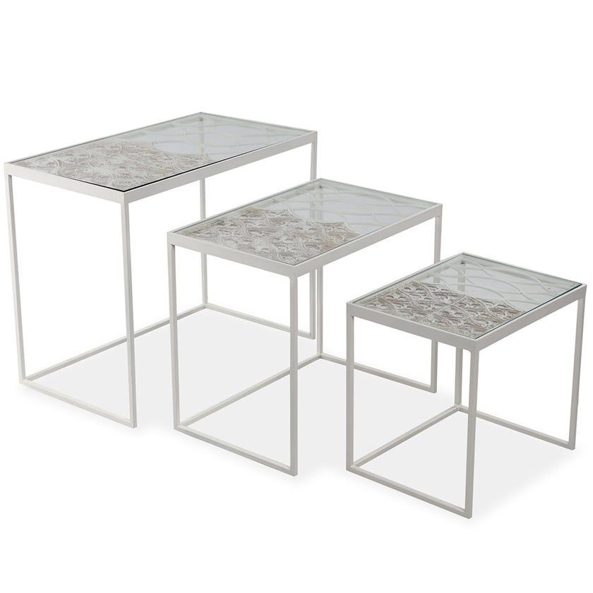 Ryan Metal Nesting Table - Set of 3 - White