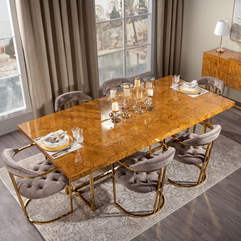Clara Wooden 8-Seater Dining Table