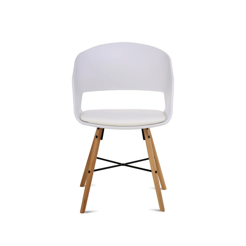 Elli Dining Chair with Beechwood Legs - White