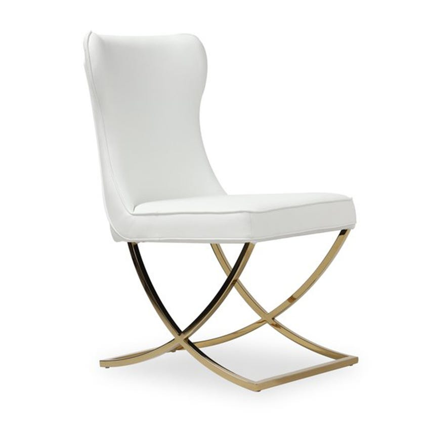 Orbit Upholstered Metal Dining Chair- Gold
