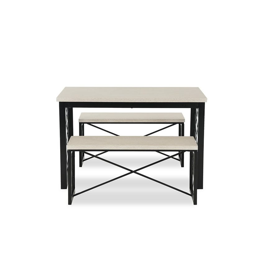 Value Engineered Wood 4-seater Dining Set with 2 Benches