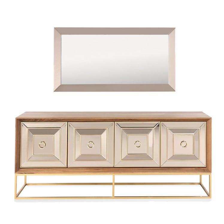 Madrid Walnut Veneer 4-Cabinet Sideboard