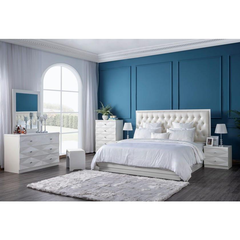 Delmonte 6-Piece King Size Bedroom Set - 180 x 200 cms, Beige