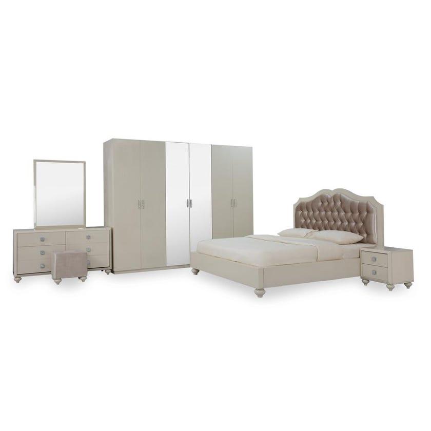 Winston 6-Piece King Size Bedroom Set -  180 x 200 cms, Beige