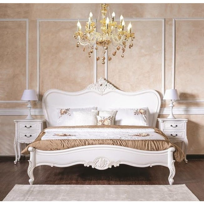 Antiq Louis King Wooden Bed - 180 x 200 cms