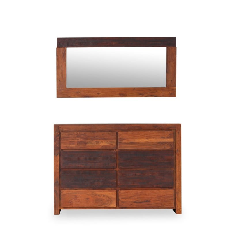 Giza Wooden 8-drawer Dresser with Mirror - Honey