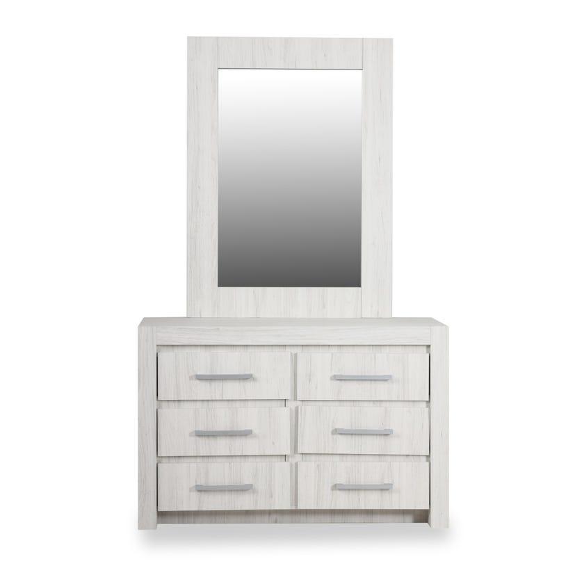 Juhu Engineered Wood 6-drawer Dresser with Mirror - White