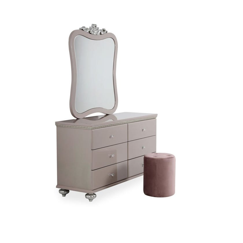 Tiara 6-Drawer Dresser with Mirror and Pouf