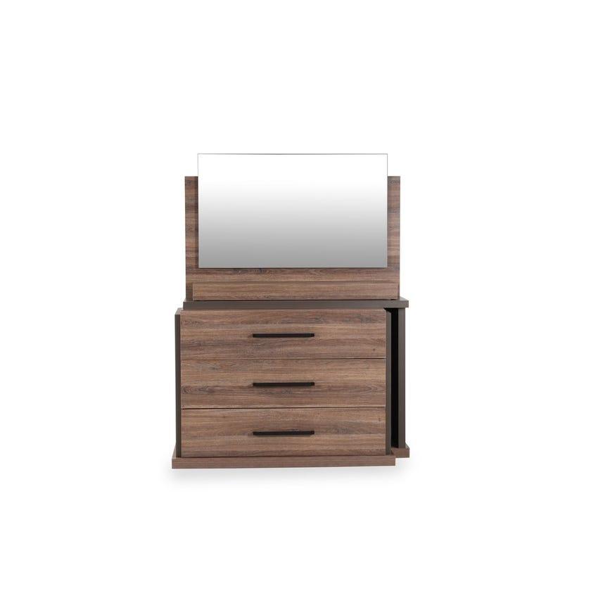 Eros 3-drawer Dresser with Mirror - Walnut