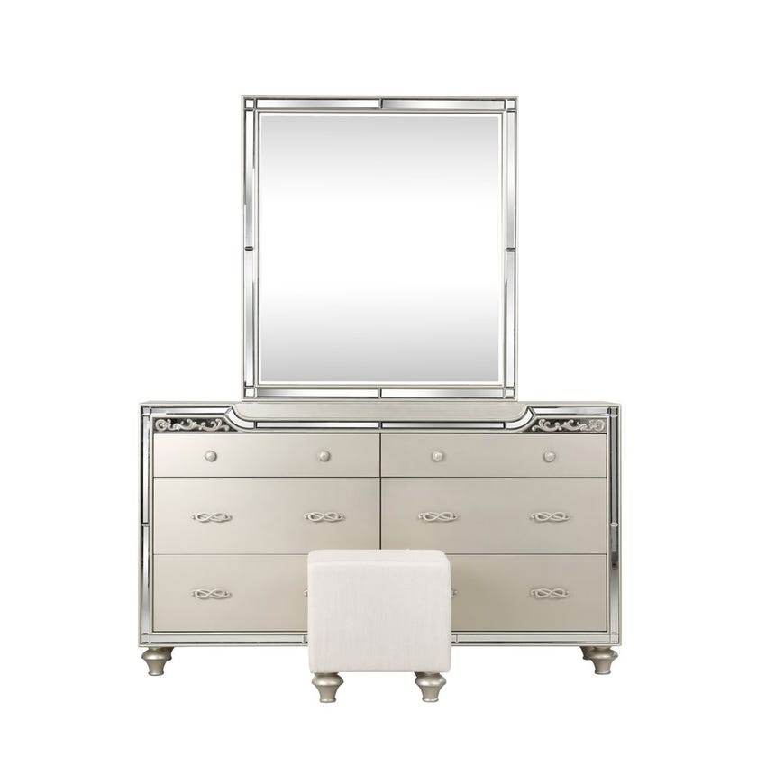 Houston 6-Drawer Dresser with Mirror and Stool