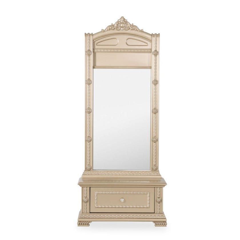 Melika Engineered Wood Tall Mirror with Drawer - Gold