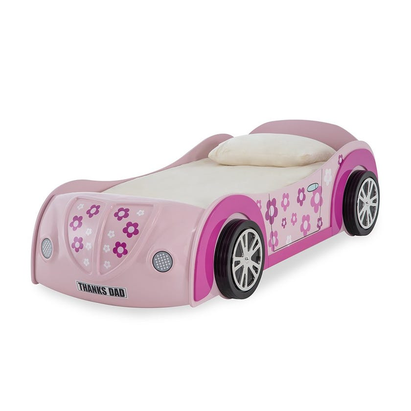 Flower Car Single Wooden Bed, Pink - 90 X 200 cms