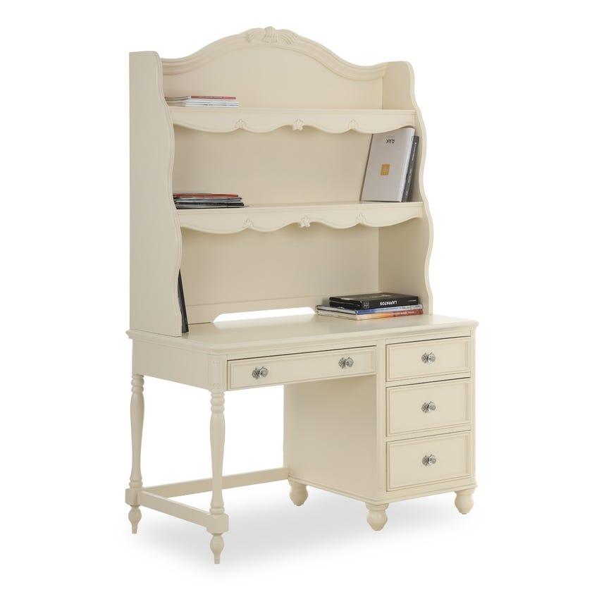 Melissa Wooden 4-drawer Desk with Hutch - Cream