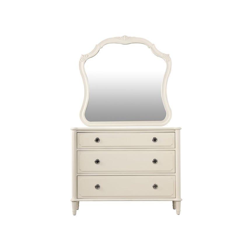Paulette Wooden 3-drawer Dresser with Mirror - White