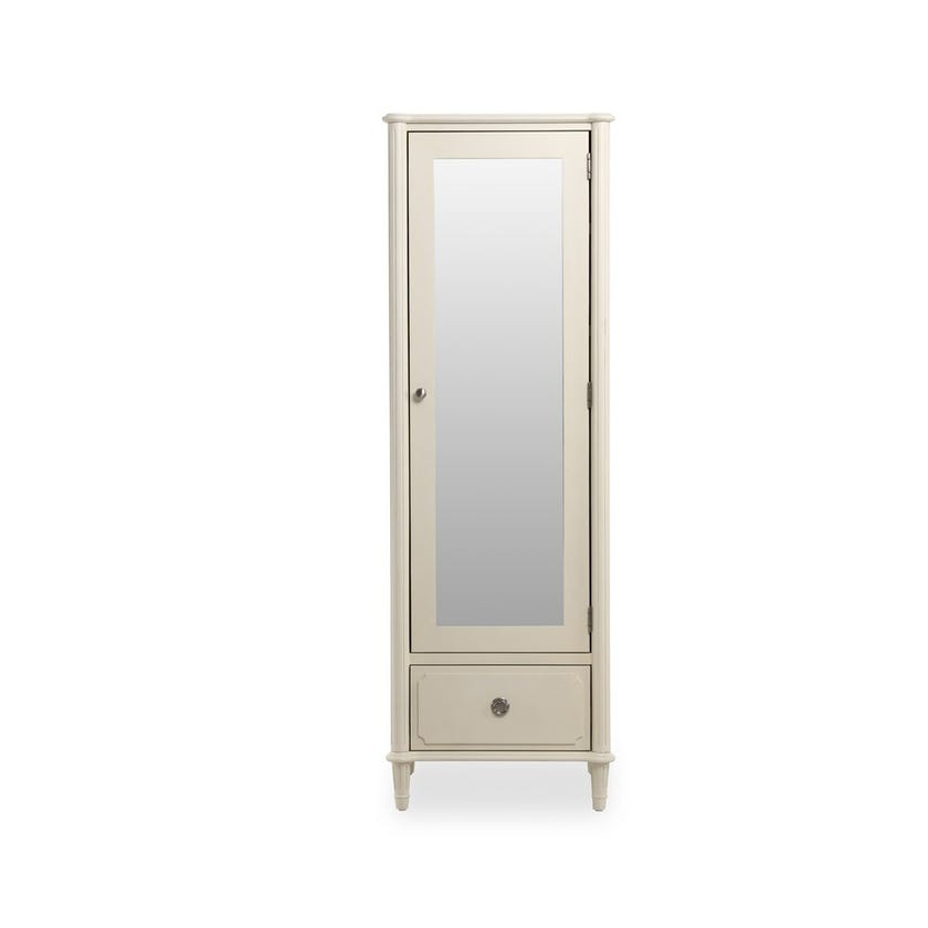 Paulette Wooden Single Armoire with Mirror and Drawer - White