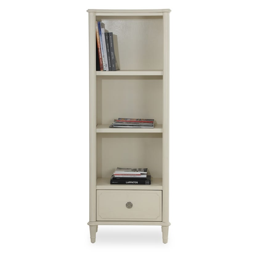 Paulette Wooden Bookcase with Drawer - White