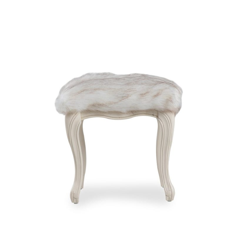 Paulette Faux Fur Upholstered Wood Stool - Cream
