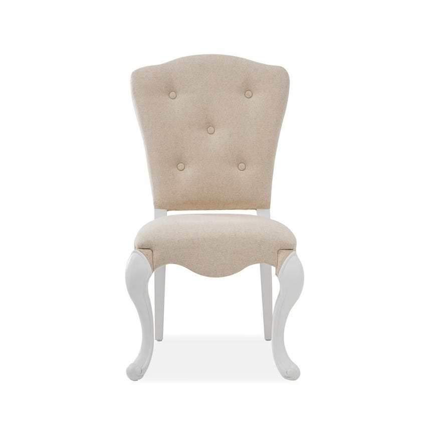 New Louis Fabric Upholstered Wooden Desk Chair - White