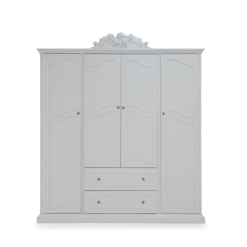 New Wood 4-door Wardrobe with 2 Drawers