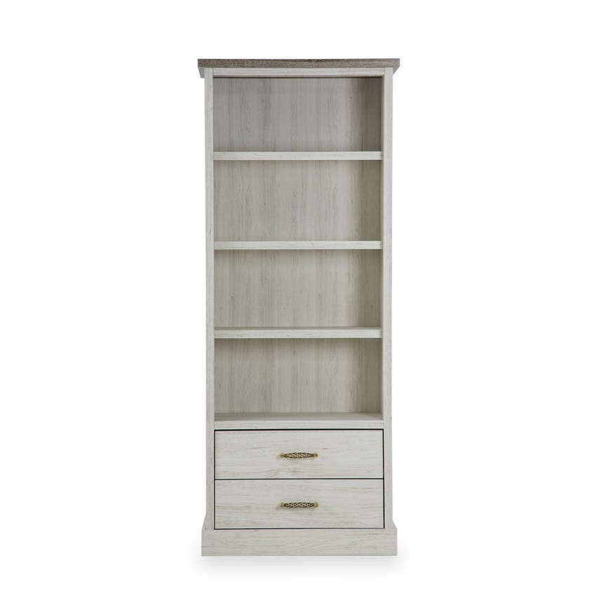 Emily Wooden 2-drawer Bookcase - Grey
