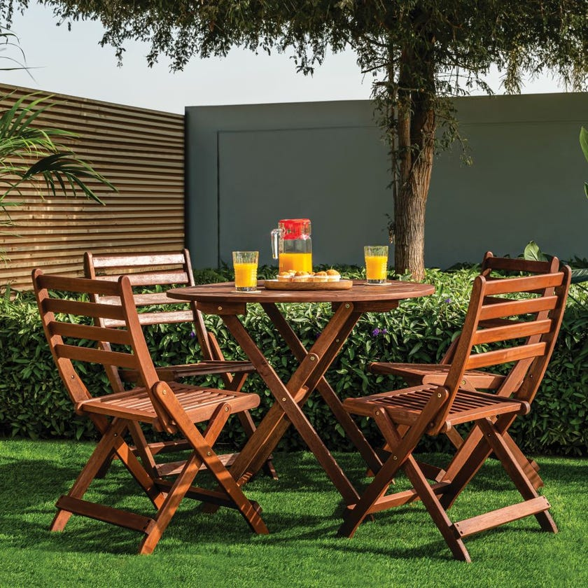 Boeta Wooden 4-Seater Outdoor Dining Set with 4 Chairs