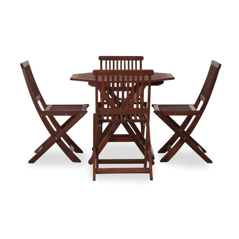 Island Wooden 4-Seater Outdoor Dining Set with 4 Chairs