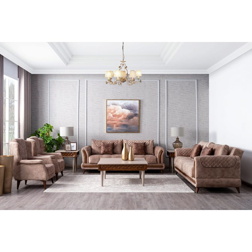 Vega Fabric Upholstered 8-seater Sofa Set with Storage - Brown